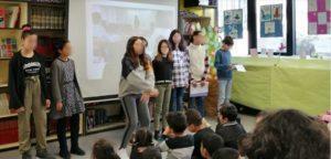 Mise en scène des textes poétiques devant les parents et les élèves du primaire.